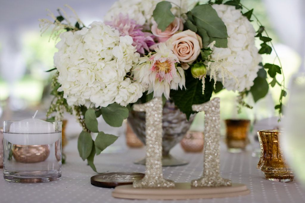 Photography: Clark + Walker Studio| Venue: The Inns of Aurora | Floral + Event Design: Stacy K Floral | #weddingcenterpiece #hydreangeacenterpiece #goldwedding