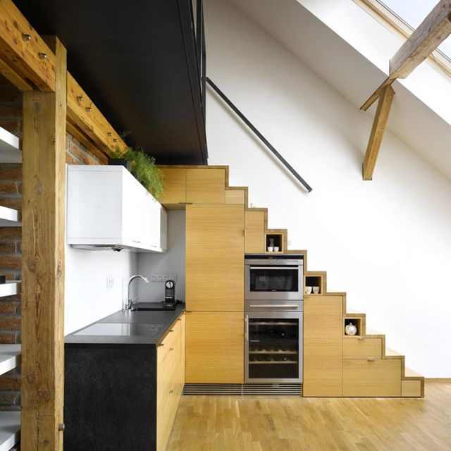 Buit In Cabinetry By Idhea Stairs In Kitchen Built In Kitchen Appliances Tiny House Kitchen