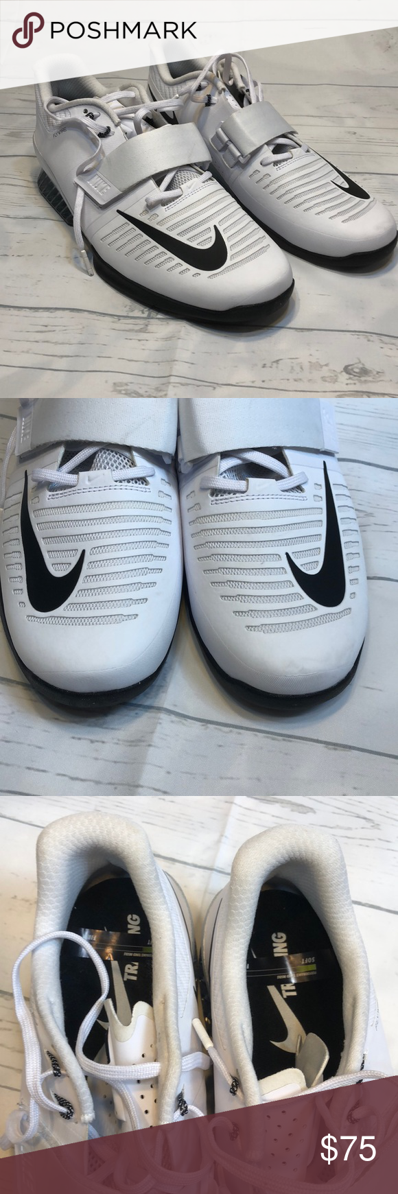 2fee758d7662 Mens Nike Romaleos 3 Weightlifting Size 15 NEW Mens Nike Romaleos 3  Weightlifting White Black 852933-100 Size 15 SOFT insoles ONLY No box Nike  Shoes ...