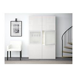 best storage combination w glass doors white selsviken high gloss white frosted glass soft. Black Bedroom Furniture Sets. Home Design Ideas