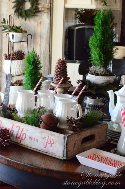 Rustic and vintage Christmas decor...love this hot chocolate station