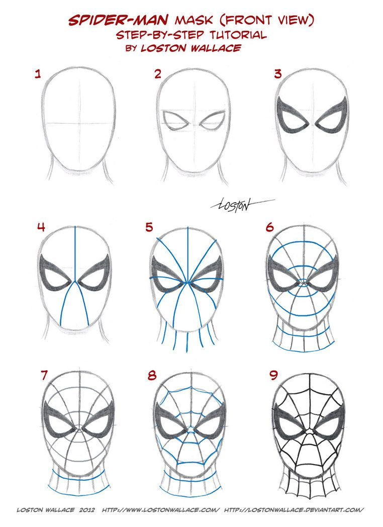 How To Draw Spiderman Step By Step Easy : spiderman, Spider-man's, Tutorial, LostonWallace, DeviantART, Spiderman, Drawing,, Face,, Marvel, Drawings