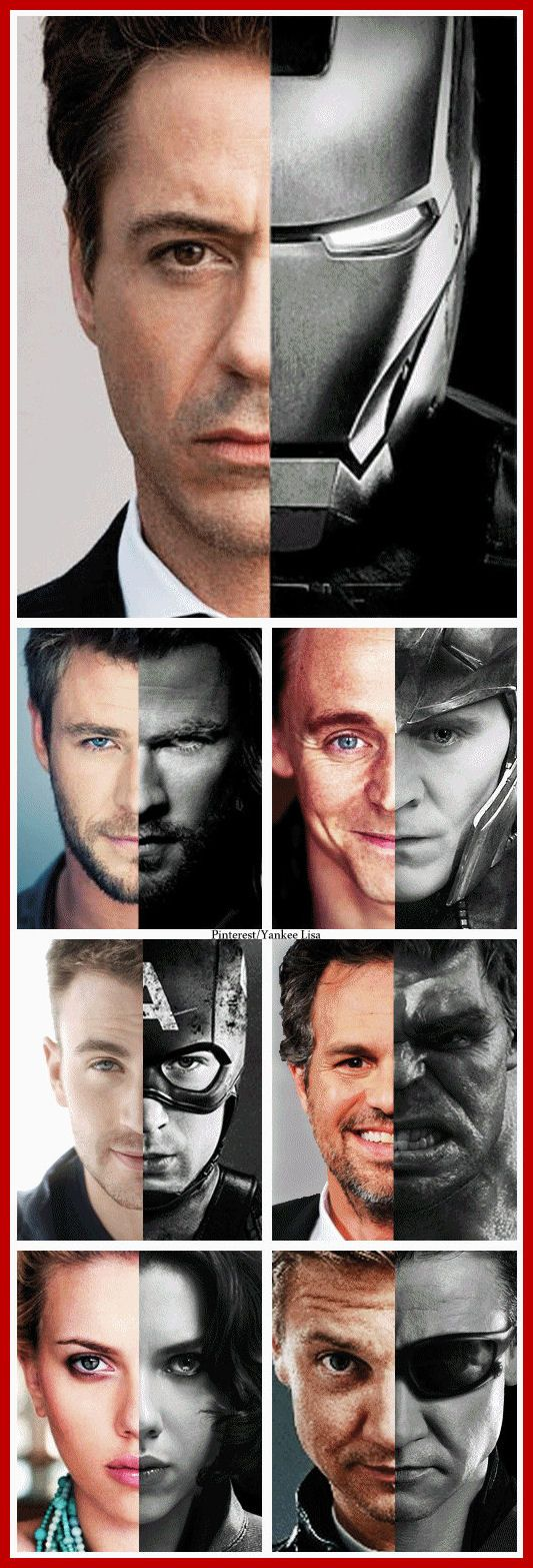 Look at these amazing actors.  Look at the actors' eyes and then at the characters.  (Might as well ignore the top; I don't know why they gave Tony Stark two pictures of himself but they're the same.) The actors look playful, but then when in character they are suddenly so changed.....look at Captain America - so starkly different from the fun loving Chris.  LOOK AT TOM SMIRKING