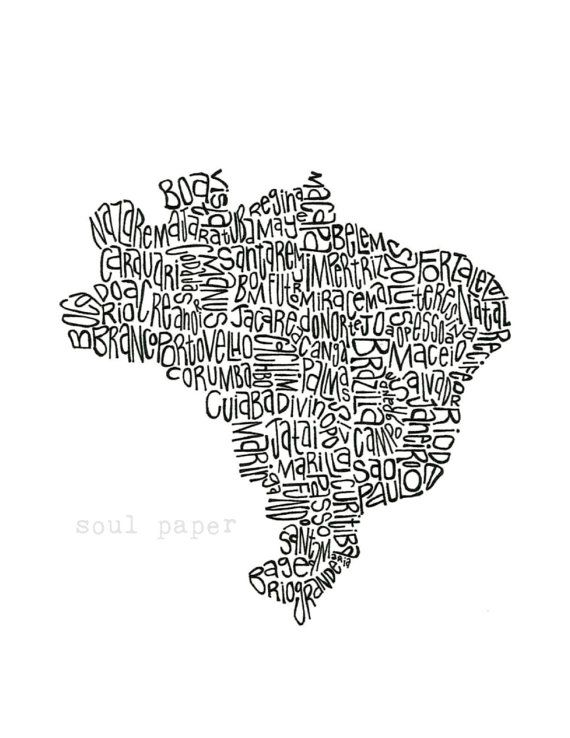 Brazil Map Brazil Gift Brazil Art Brazil Wall Art Brazil Print