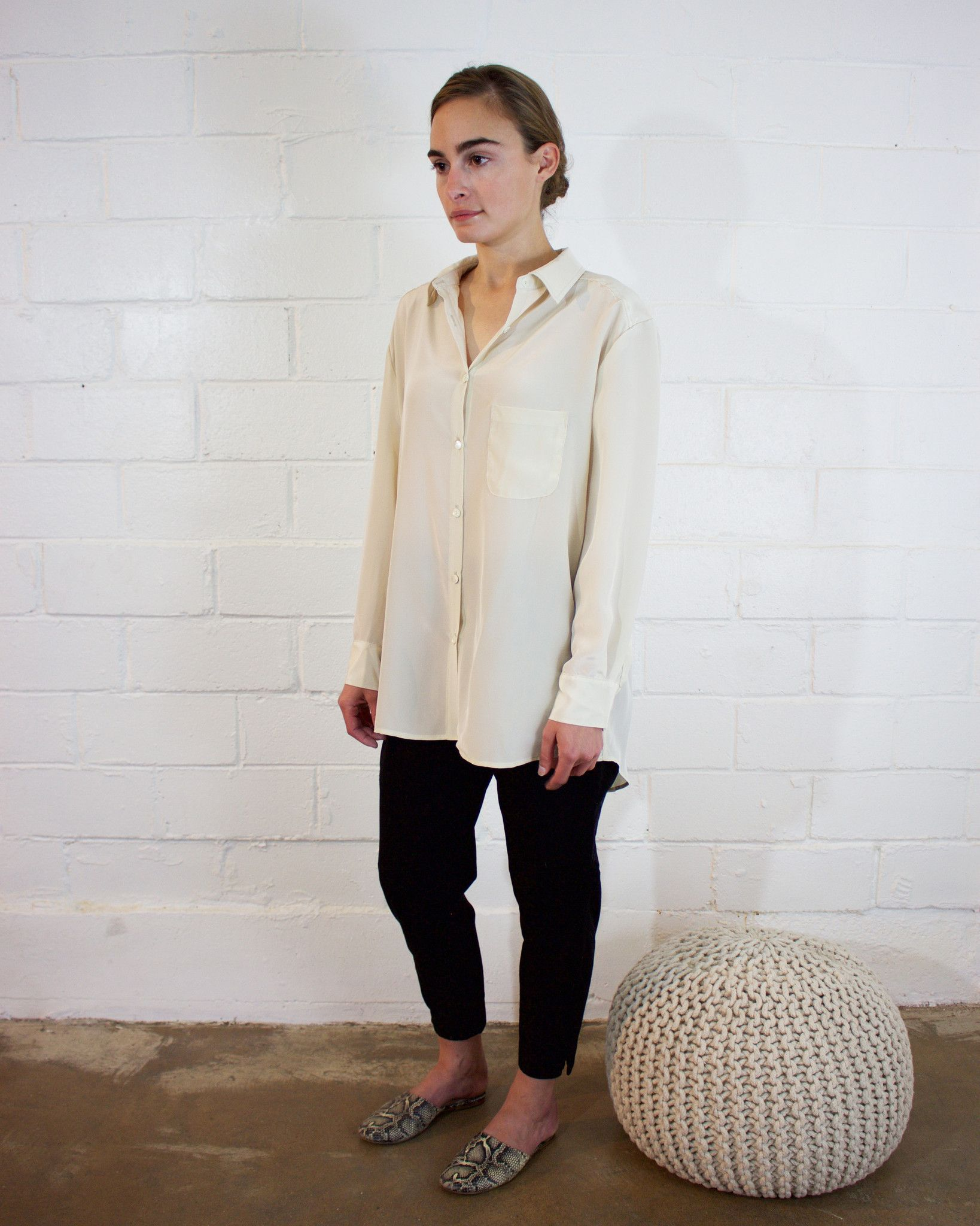 silk button down - cream