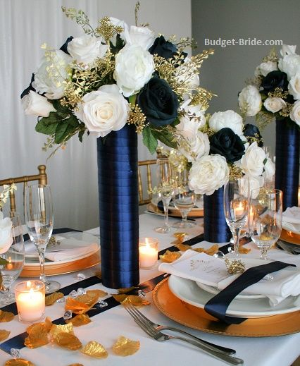 Wedding Table Decoration Ideas On A Budget: Tall Reception Centerpieces Made With Navy, Ivory And Gold