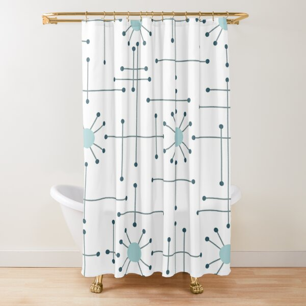 Mid Century Modern Shower Curtain Fabric Display
