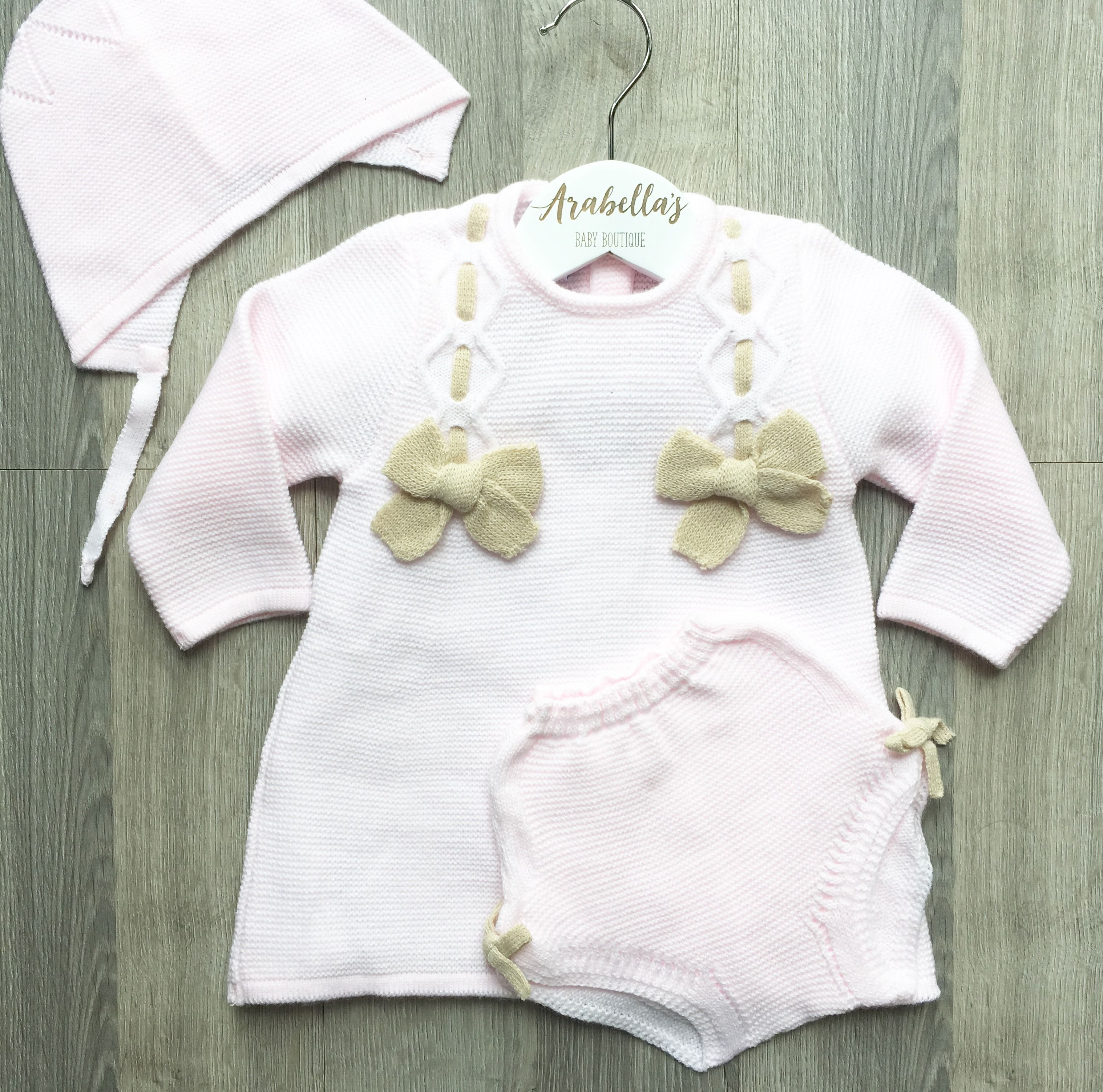 Cha o baby spanish baby girls 3 piece knitted jam pant set with