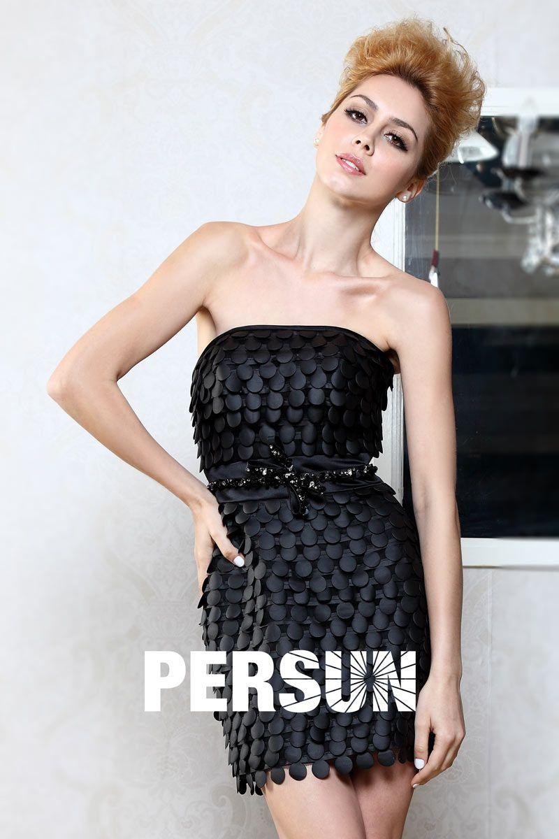 91f7ecd91d9d7 Petite robe noire bustier avec ceinture nœud papillon brillante - Persun.fr