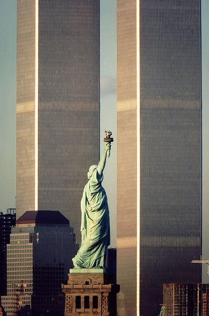 World Trade Center and Statue of Liberty, New York City 1988 | by Jersey JJ, via Flickr