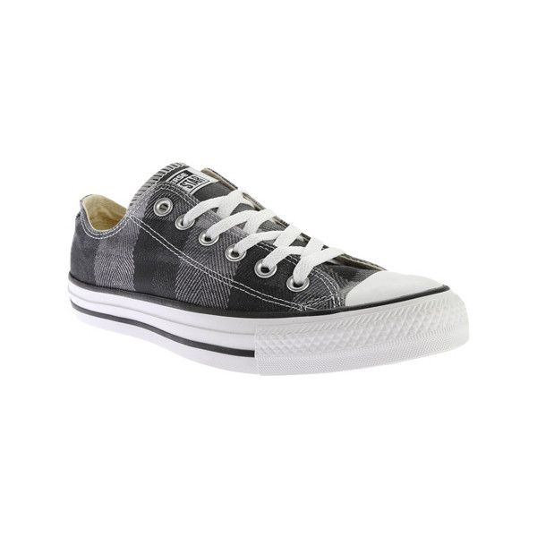 Converse Chuck Taylor All Star Low Sneaker - Black/White/Black (Plaid)... ($55) ❤ liked on Polyvore featuring shoes, sneakers, black sneakers, black oxford shoes, black and white sneakers, white and black shoes and white and black oxfords