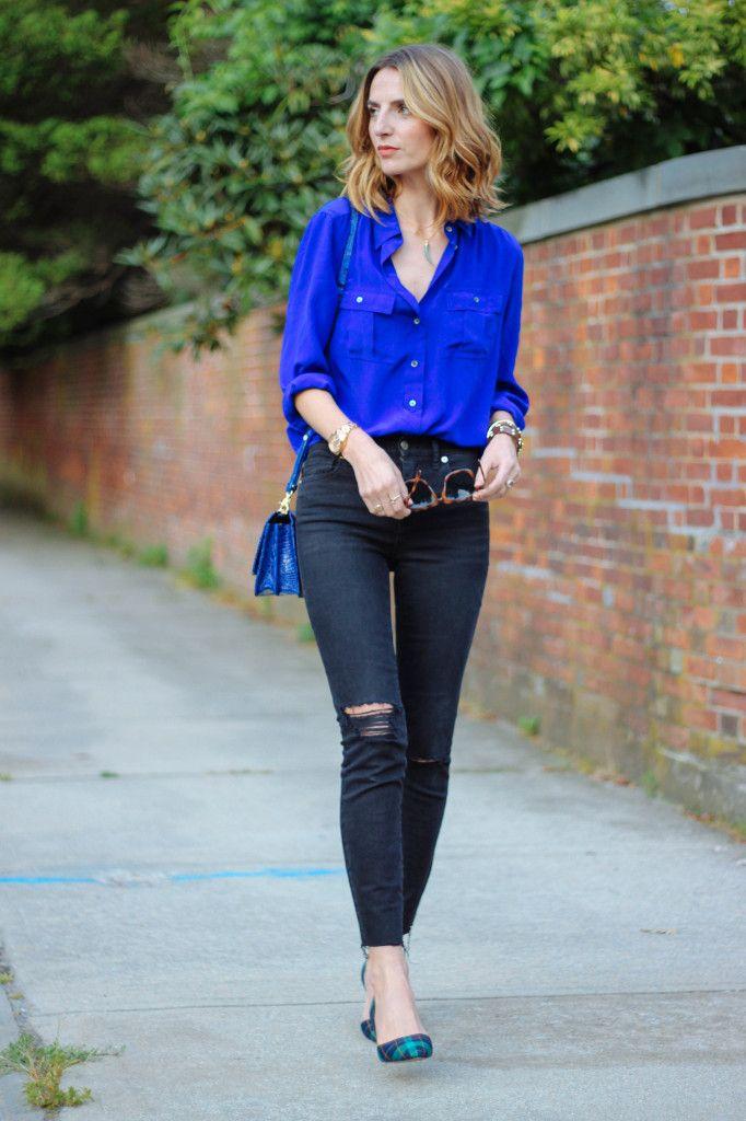 High Waist Skinny Jeans Cobalt Silk Blouse And Plaid