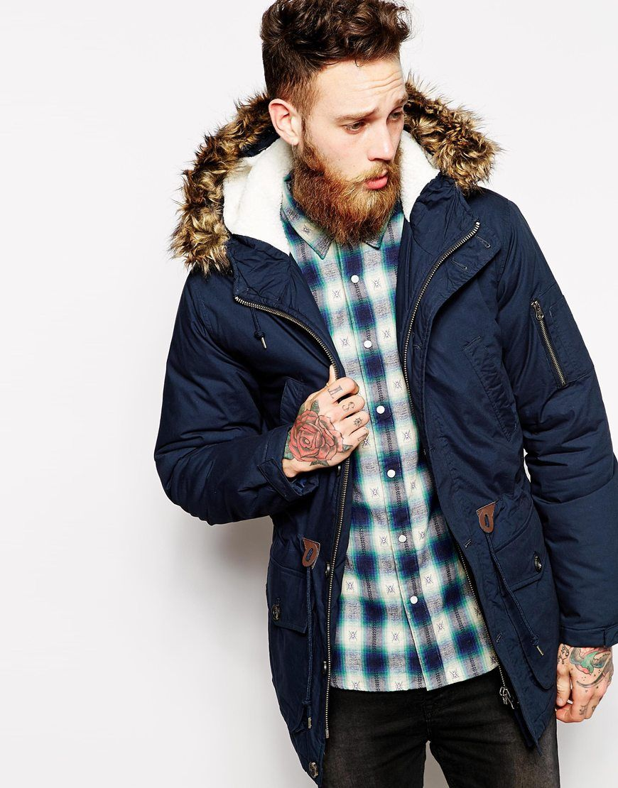 Asos parka jacket navy