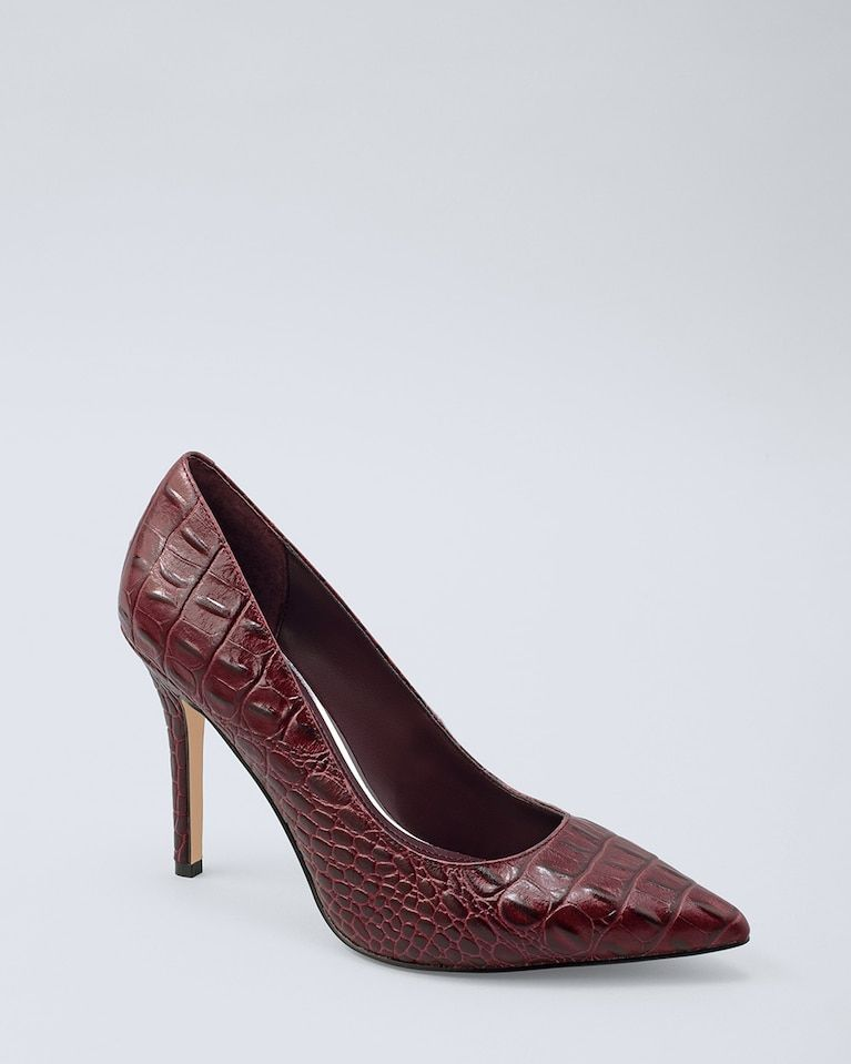 5129e5e8c31 Women's Olivia Croc-Embossed Leather Heels by White House Black ...