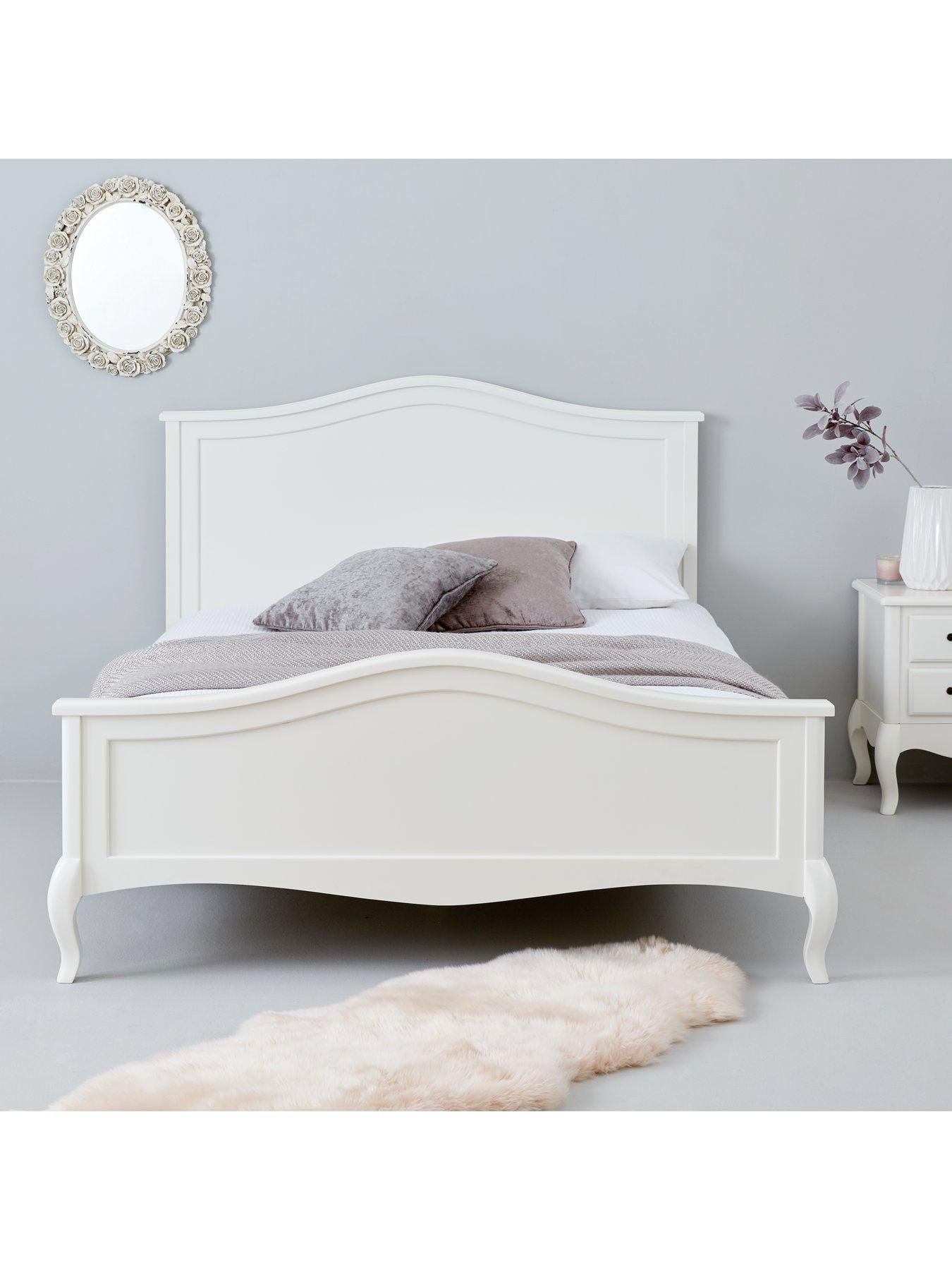 Olivia Wooden Bed With Mattress Options Bed Frame With Microquilt Mattress White Double Pinpon In 2020 White Bed Frame Bed Headboard Design White Wooden Bed