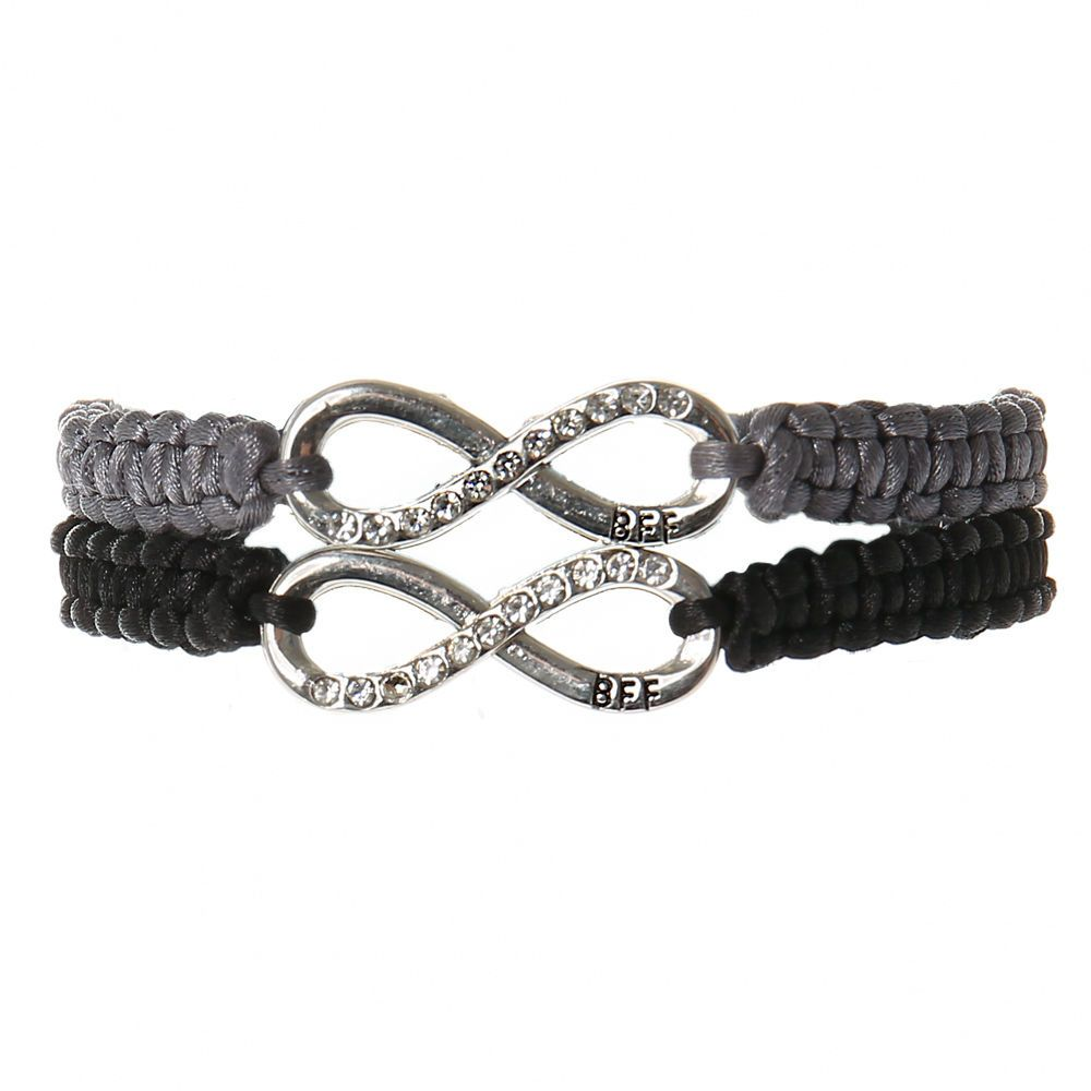 7a0076aa8cc87 Claire's Infinity Adjustable Friendship Bracelets - Gray, 2 Pack in ...
