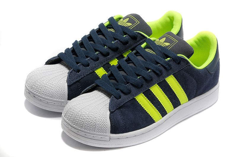 Adidas Superstar Shoes Green White Blue