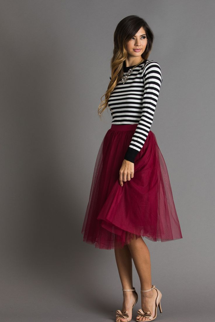 Eloise Burgundy Tulle Midi Skirt Pinterest Party