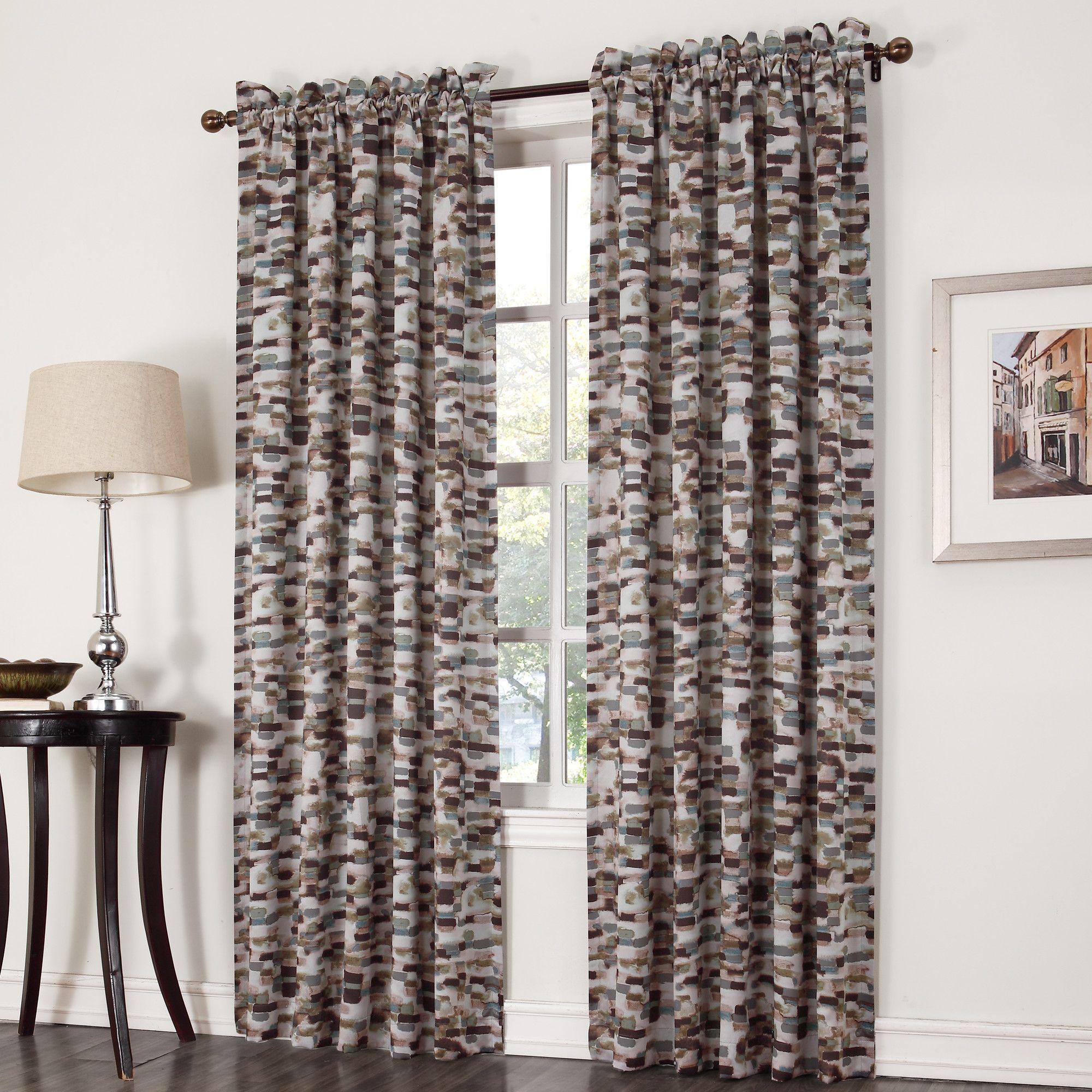 Window coverings to block sun  rex watercolor block print rod pocket single curtain panel
