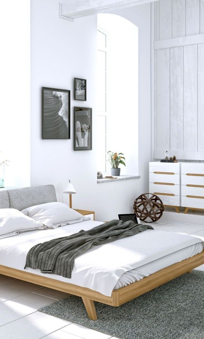 schlafzimmer ideen weiße wände weiße bettwäsche grauer teppich ...