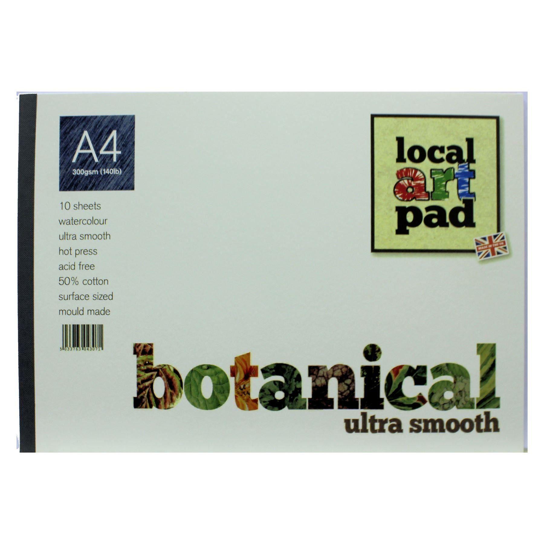 Local Art Pad A4 Botanical Hot Press Watercolour Paper 300gsm 50