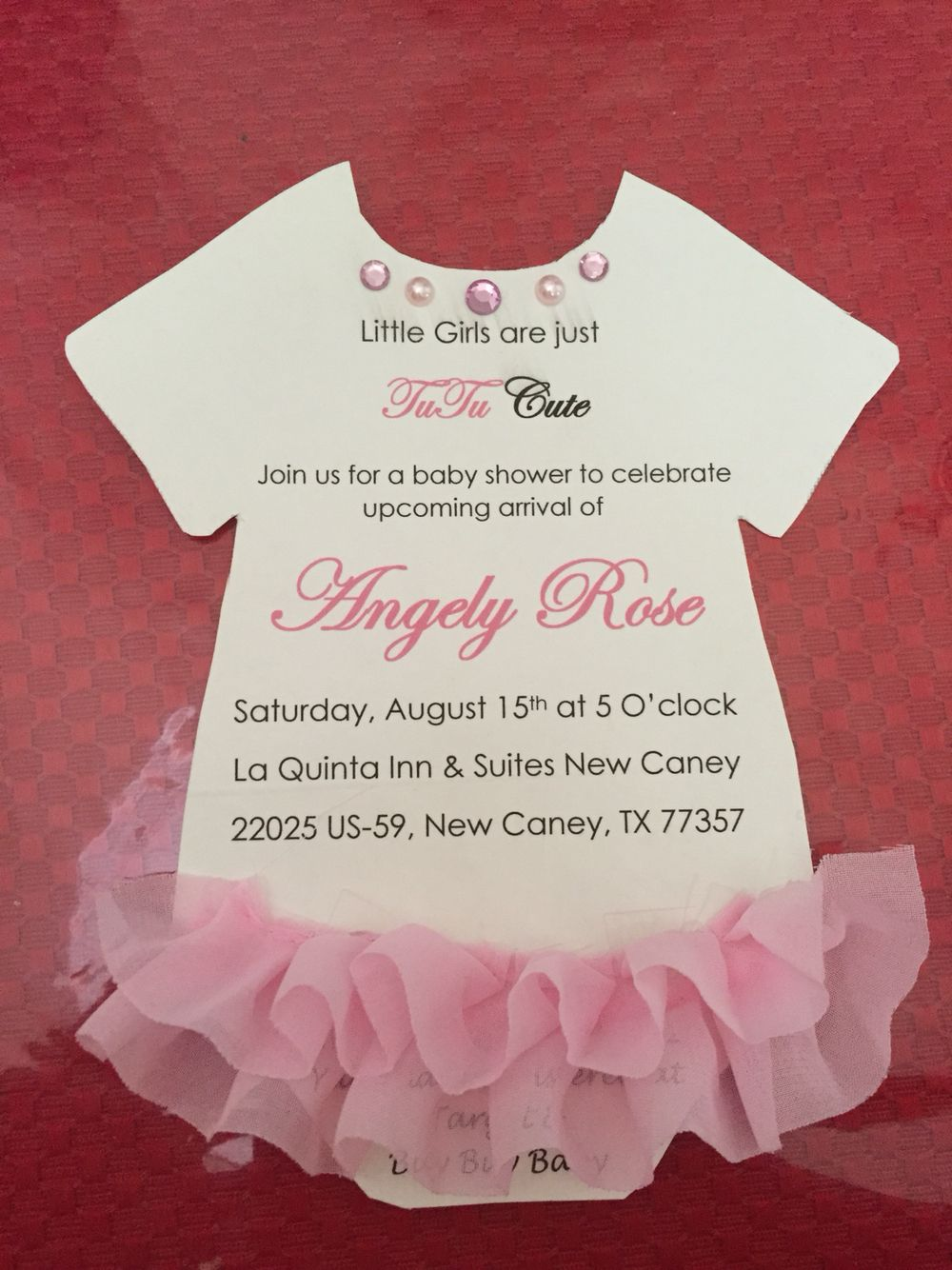 baby shower for girls Tutu baby shower Pink invitations Tutu