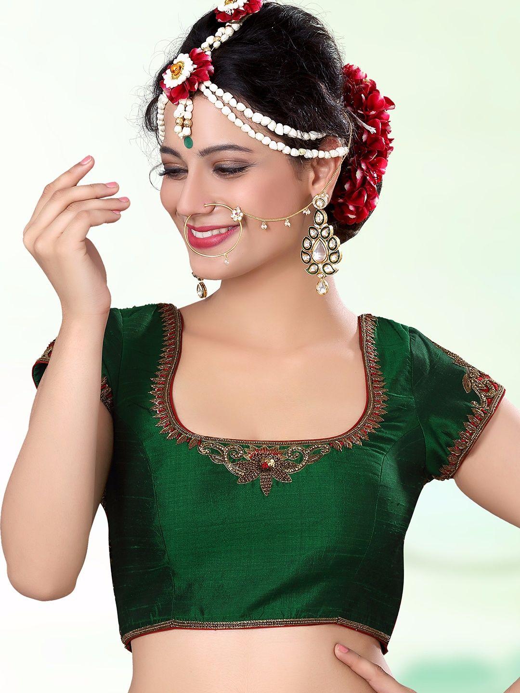 b7a3cc9e56f12e Glorious Green Raw Silk Ready Made Blouse For price or detail do whatsApp + 91-9913433322