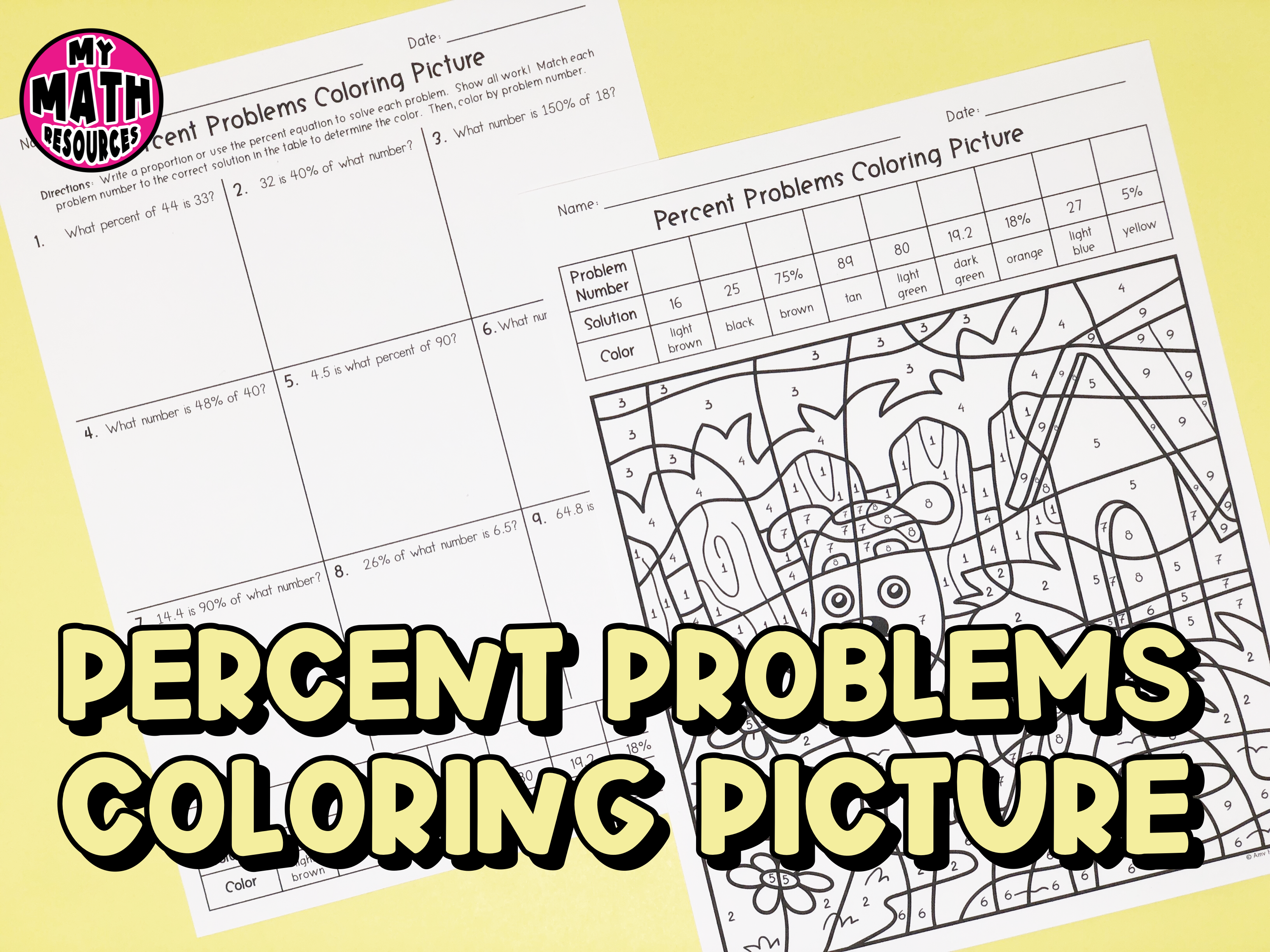 My Math Resources - Percent Problems Coloring Picture Worksheet   Math [ 2448 x 3264 Pixel ]