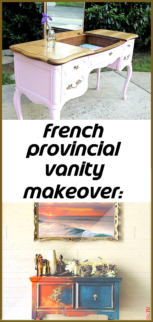 French provincial vanity makeover before and after with paint and scrapbook paper 5 French Provincial Vanity Makeover BEFORE and AFTER With Paint and French provincial va...