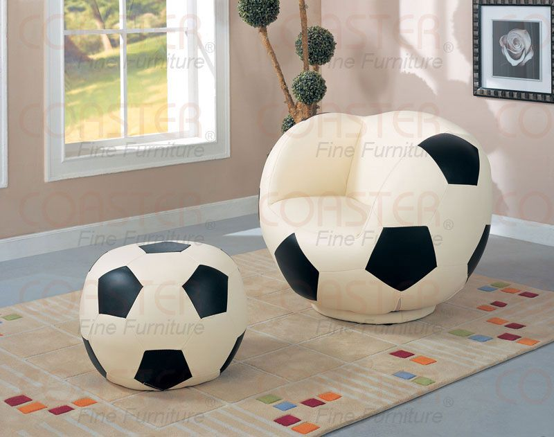 Soccer Ball Chair And Footstool Soccer Furniture Soccer Room