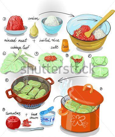 Folhas de couve recheada com carne e arroz. Passo a passo fotos da receita para cozinhar rolinhos de repolho folhas, picado de carne e arroz. Comida caseira, menu de dieta, o prato para o almoço.