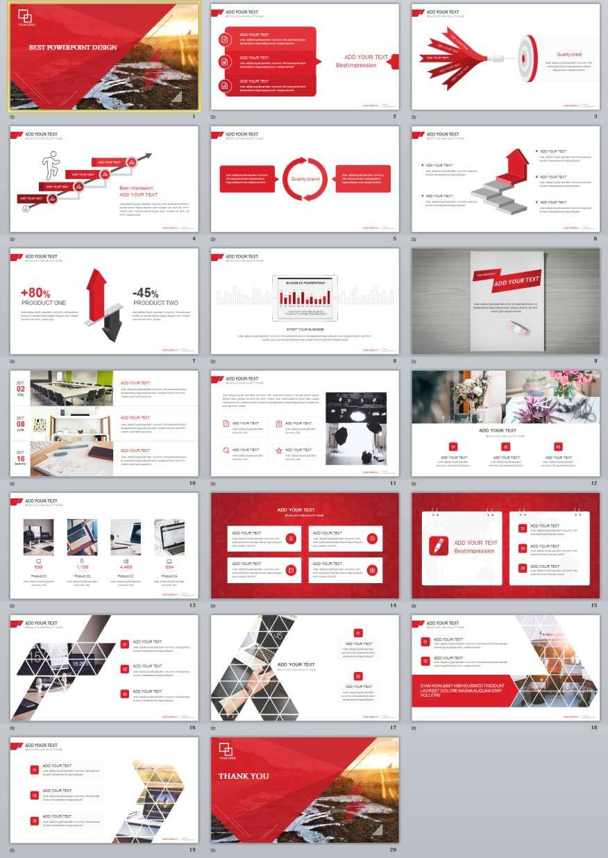 20 red simple slide powerpoint templates template pinterest