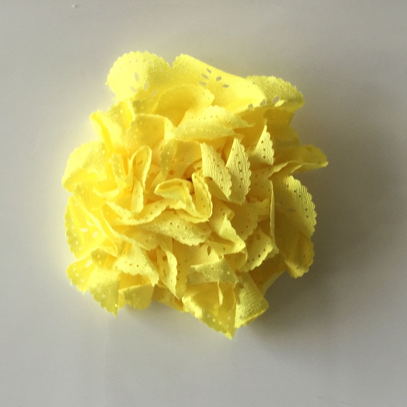 """ONE 3""""  Large Yellow Eyelet Fabric Flower-Applique-hairbow supplies-diy wedding-crafts-scrapbook-headband supplies-wholesale Flowers-Bulk by BBBSupply on Etsy"""