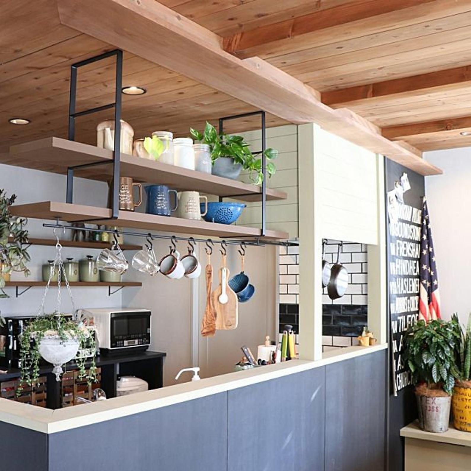 Floating ceiling bracket, hanging shelf in 2020 Kitchen