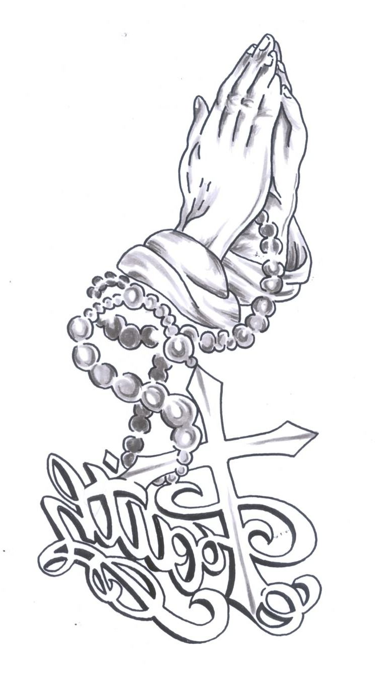 Praying Hands With Rosary Beads Tattoo Designs