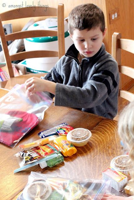 Have Kids Help Put Together Bags Of Stuff To Give To The