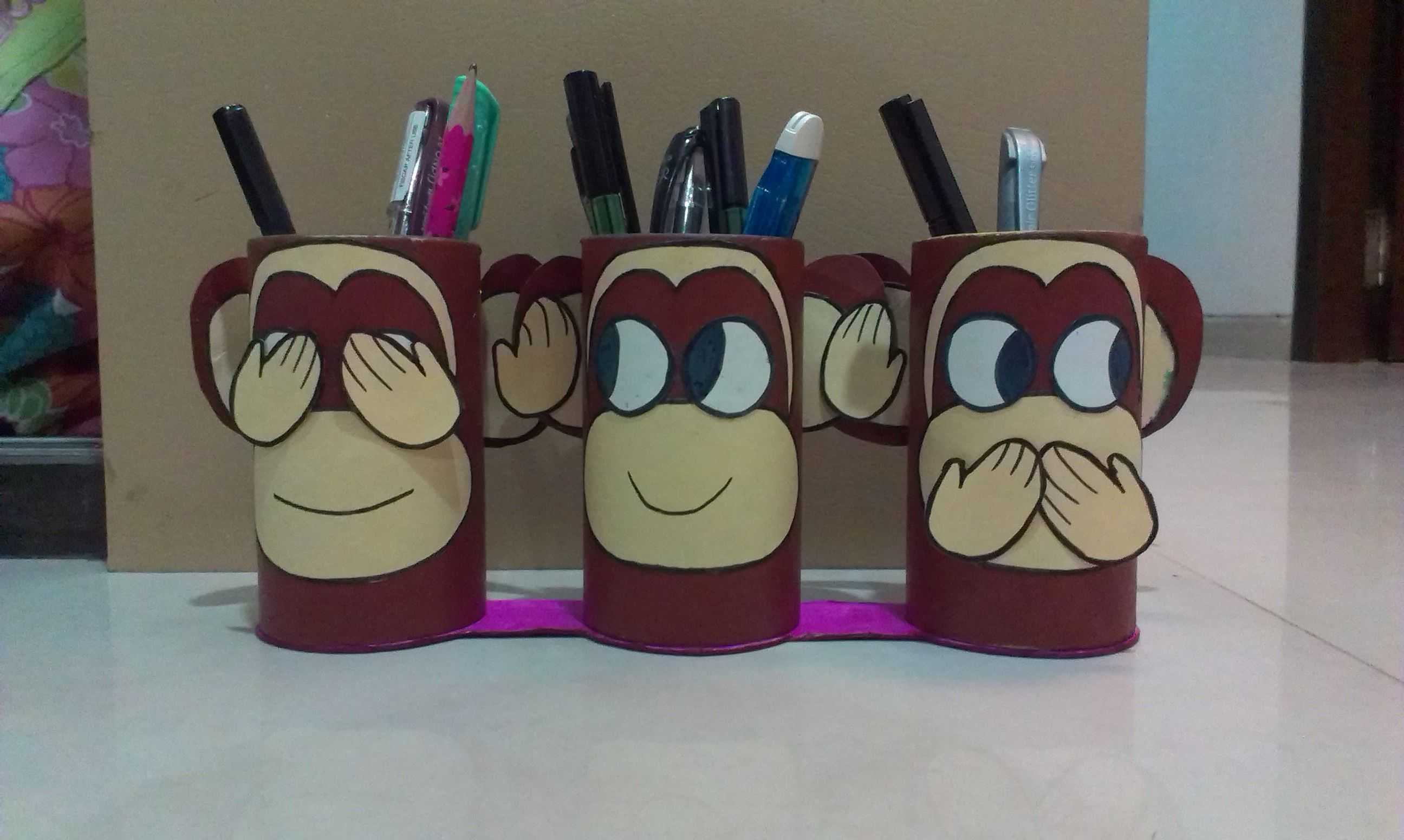 Gandhiji 39 s 3 monkeys pen stand diy diypenstand best out for Craft work best out of waste