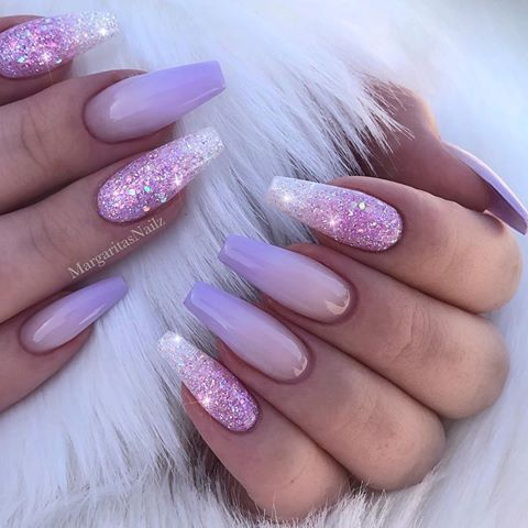 lilac lavender nails Glitter Ombré nail art design Summer coffin nails by  MargaritasNailz #NailArt - Lilac Lavender Nails Glitter Ombré Nail Art Design Summer Coffin