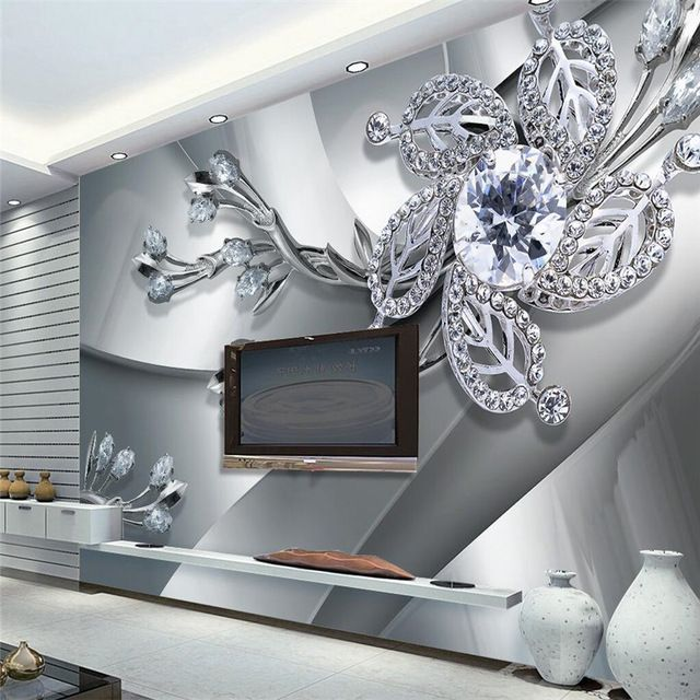 Large 3d European Pearl And Rose Jewelry Tv Background: Wall Panel Wallpaper Diamond Plum Rose Pattern Background