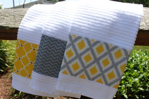 Kitchen Towels Set Of 3 With Gray And Yellow Accents Dish Towel Hand