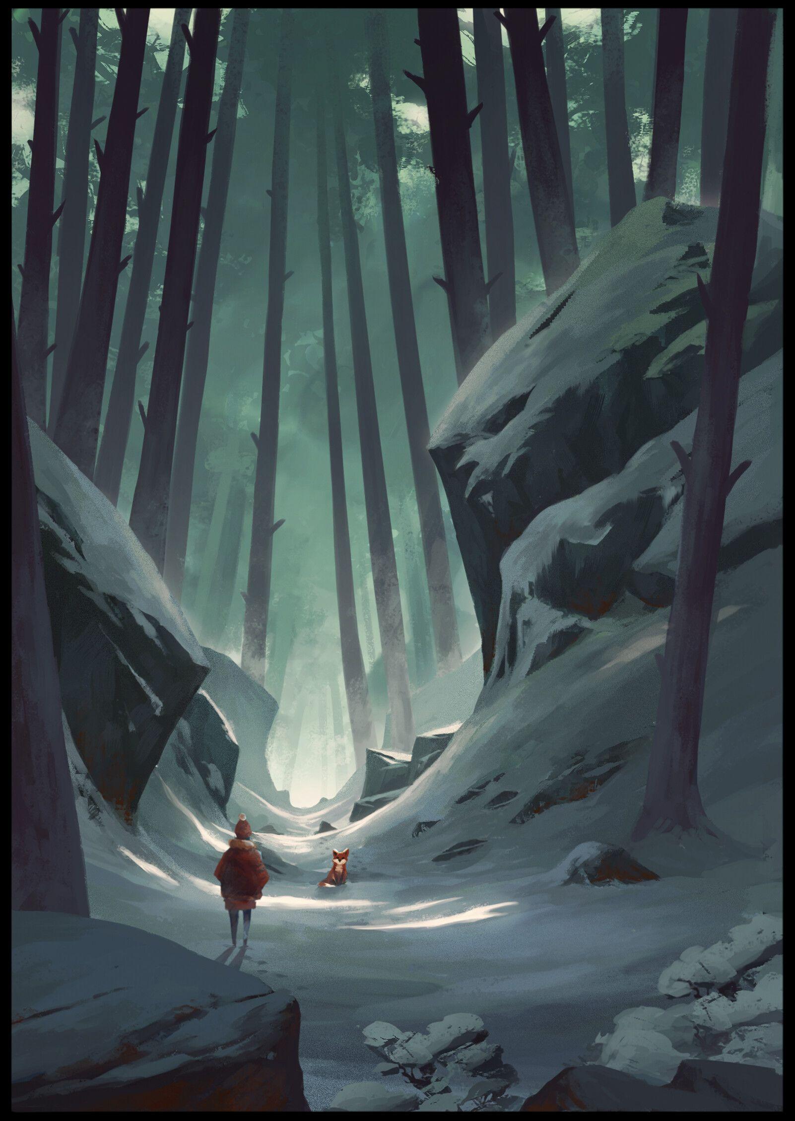 Artstation Forest Speedpainting Boris Stoyanov Environment Painting Fantasy Concept Art Landscape Illustration