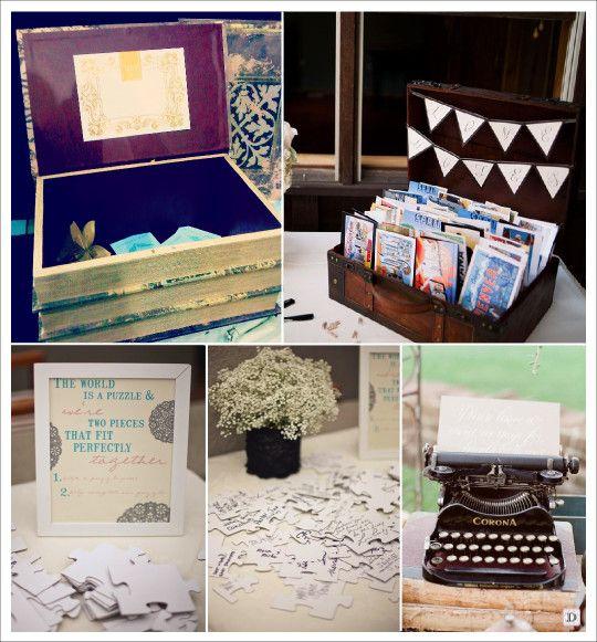 Préférence livre dor mariage retro vintage urne livre puzzle carte postale  FX13