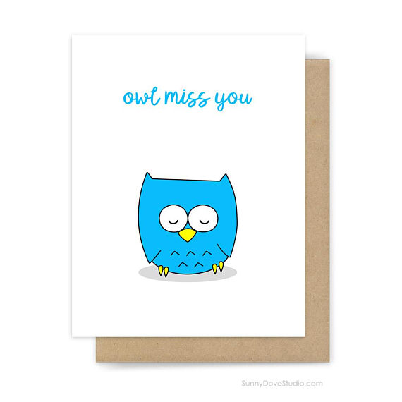 Funny Goodbye Card For Friend I Ll Miss You Owl Pun