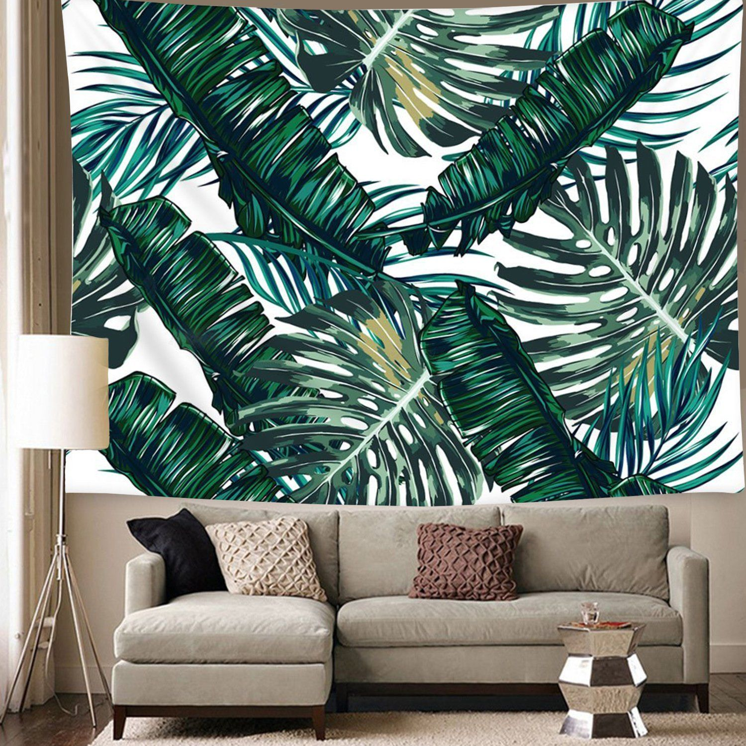 Wall Hanging Bohemian Bedspread Hawaiian Tropical Palm Tree Leaves Tapestry
