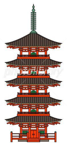 五重塔 イラスト素材 京都 東寺 年賀 ライブラリー
