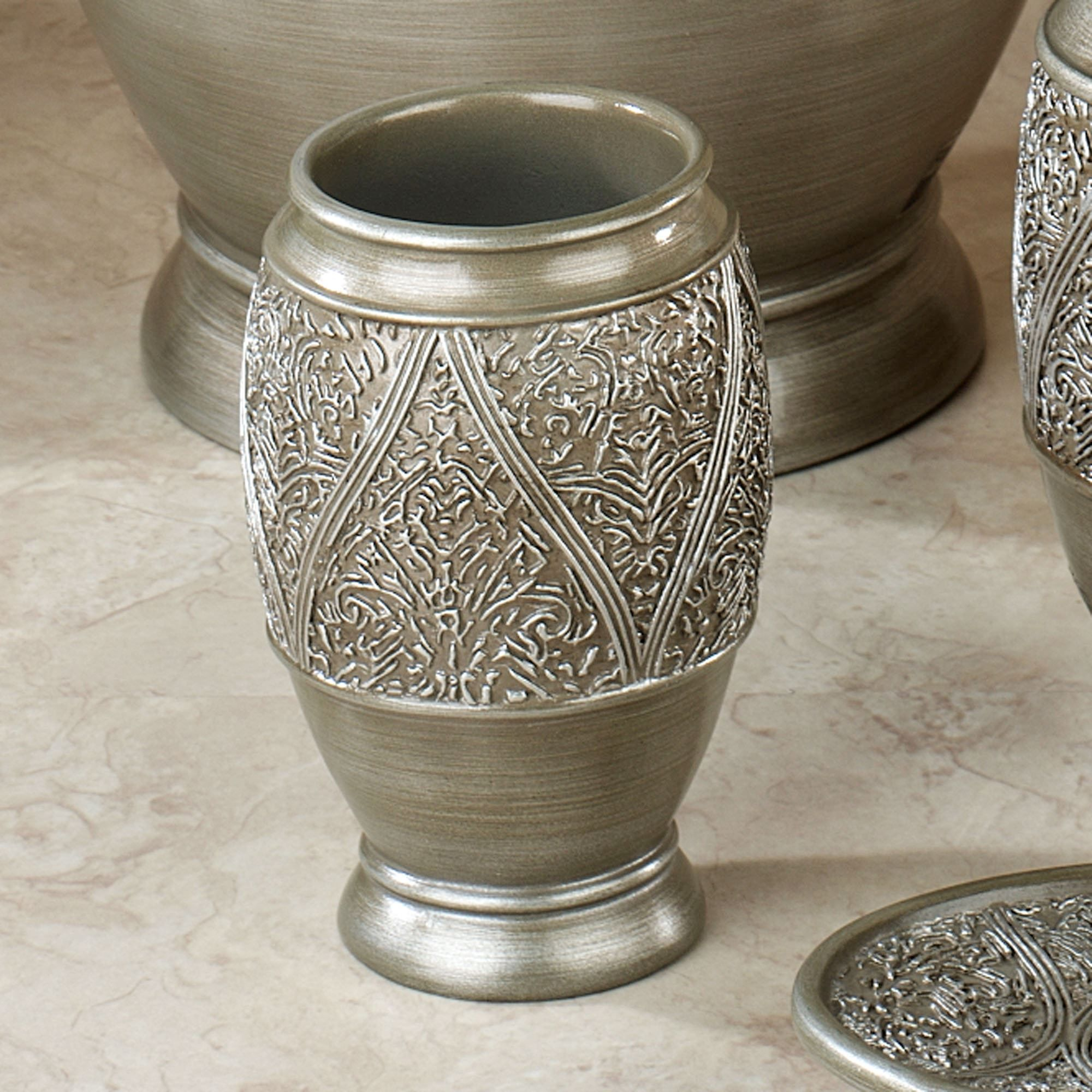 Moroccan bathroom accessories - Made Of Handpainted Resin The Casablanca Bath Accessories Feature An Etched Silver Banded Border Of Moroccan Designs
