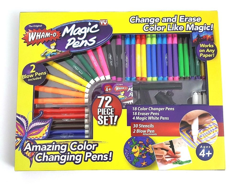 Main Offer: 9 color-changing pens, 9 eraser pens, 2 magic pens. Bonus: Magic  blow pen & magic stencil pack (free), free shipping. Brand: Wham-O