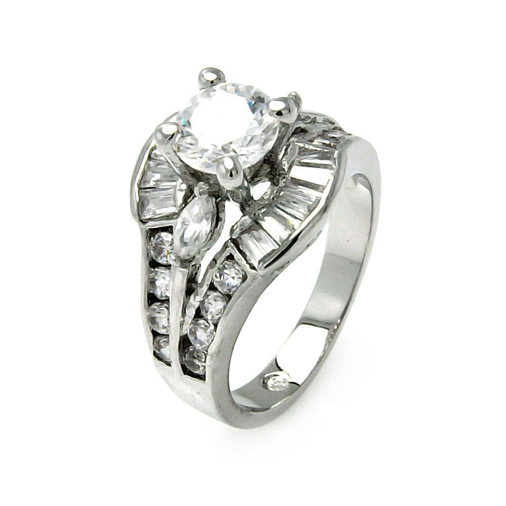 Rhodium Plated Brass Clear Round Center Marquise Baguette Cubic Zirconia Bridal Ring