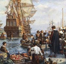 """The Pilgrims set sail from Plymouth, England (above) aboard the """"Mayflower""""   on September 6, 1620."""