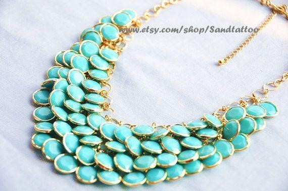 Sale- Aqua- Turquoise- Round Facet Bib Necklace